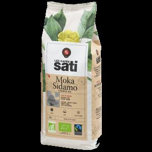 Café bio Moka Sidamo Pur Arabica en Grains / Label bio AB & Max Havelaar / Cafés bio SATI