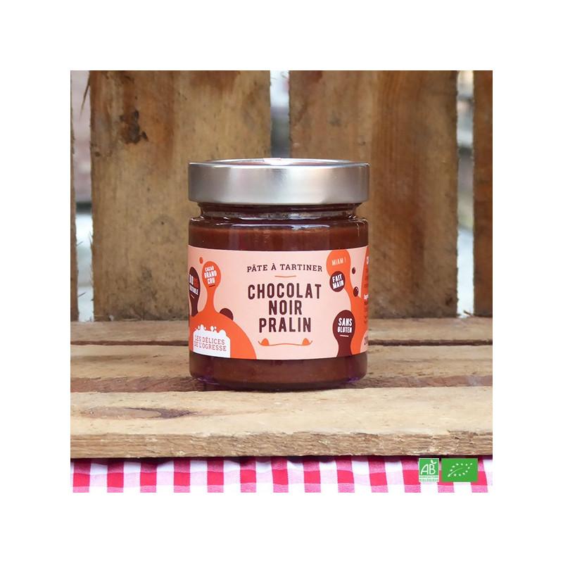 Pâte à tartiner bio Chocolat noir et Pralin - Fabrication artisanale française - Les Délices de l'Ogresse