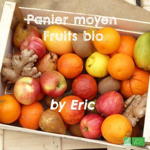 Panier bio moyen format composé des meilleurs fruits de saison / Fruits frais en circuit court Producteurs & Arboriculteurs bio
