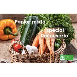 Achetez en ligne un petit panier bio mixte Fruits et légumes pour 3jours; rajoutez à souhait des produits bio