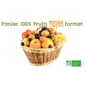 Panier fruits bio MOYEN format pour petite famille, Livraison MAFERMEBIO gratuite sur points relais en Alsace Moselle
