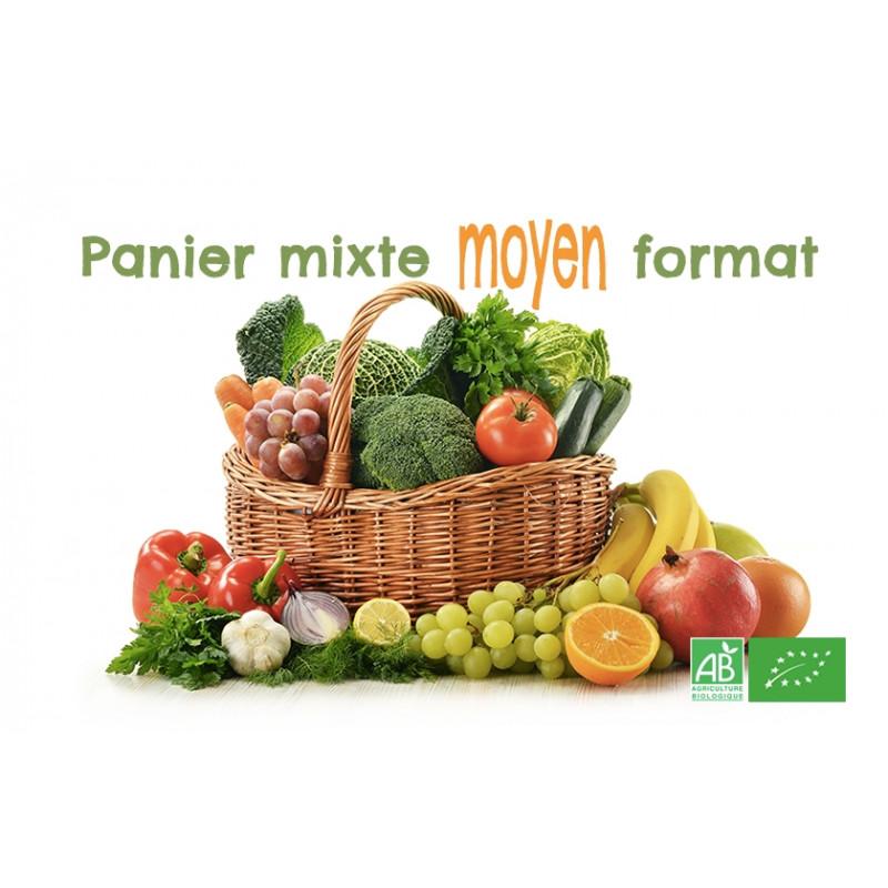 Achetez en un clic ce panier mixte de fruits & légumes bio moyen format, ajuster à la hausse les quantités que vous souhaitez