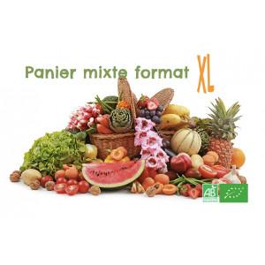 Achetez en un clic ce panier mixte de fruits & légumes bio format XL, rajoutez des produits bio à souhait