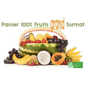 Panier fruits bio GRAND format pour famille nombreuse, Livraison MAFERMEBIO gratuite sur points relais en Alsace Moselle