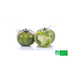Tomate bio ancienne Green Zebra cultivée dans le potager bio de notre producteur bio VEGETAL RESPEKT en Moselle