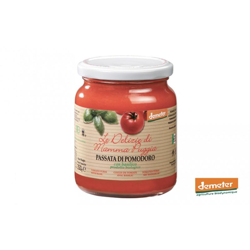Coulis de tomates Passata di pomodoro Demeter au basilic de la maison TERRE DI SAN GIORGIO en Italie