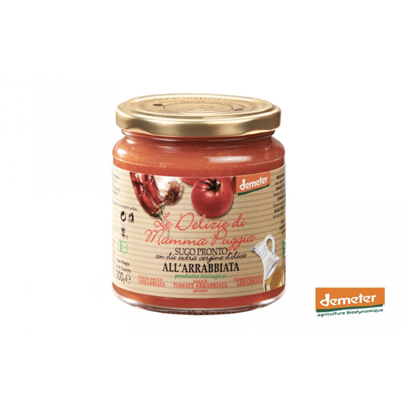 Sauce arrabiata piquante bio Demeter de la maison TERRE DI SAN GIORGIO en Italie